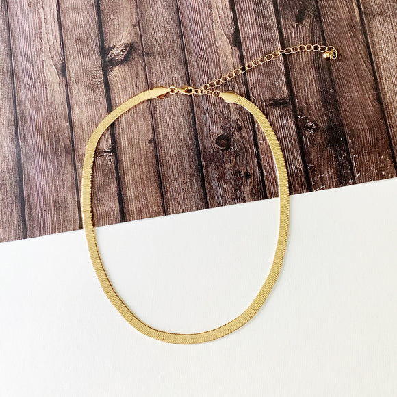Baubles & Bits Boutique :: Whittney Gold Herringbone Chain Necklace