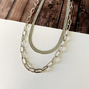 Layered Look Necklaces :: Lauren Herringbone and Paperclip Chain - Silver