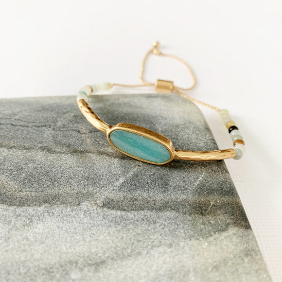 Natural Stone Slider Bracelet Collection ::  Amazonite Gold Marquee