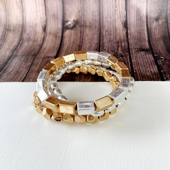 Boutique Bracelet Collection :: Celeste Mixed Metals Stacked Ball Bracelets