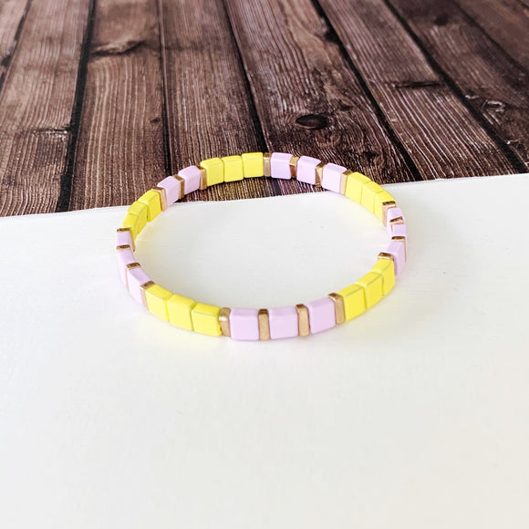 Boutique Bracelet Collection :: Vivian Lavender and Yellow Tile Bracelet
