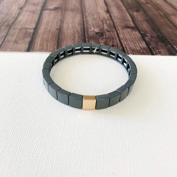 Boutique Bracelet Collection :: Lily Grey Tile Bracelet