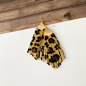 Stay Wild Earring Collection :: Tan Leopard Fringe