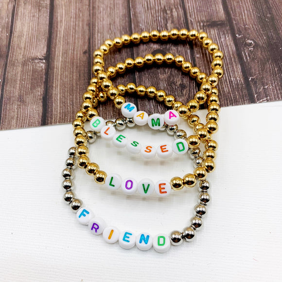 Boutique Bracelet Collection :: Lucy Affirmation Gold Ball Bead Bracelets :: Mama, Love, Blessed, Friend