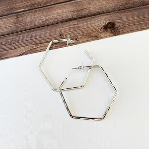 "Hoopla Hoop Earring Collection :: Kiana Silver 2.5"" Hexagon Hoops"