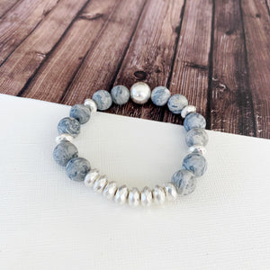Boutique Bracelet Collection :: Cecelia Natural Stone - Grey Agate