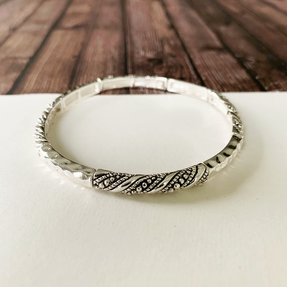 Cable Bracelet Collection :: Harper Silver Texture