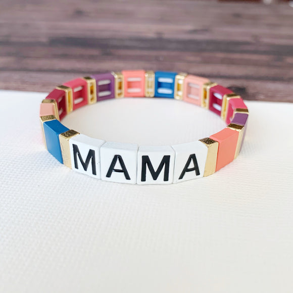 Boutique Bracelet Collection :: Mama Tile Bracelet Pink Multi