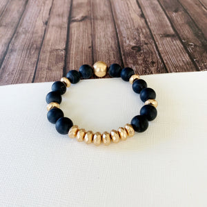 Boutique Bracelet Collection :: Cecelia Natural Stone - Onyx