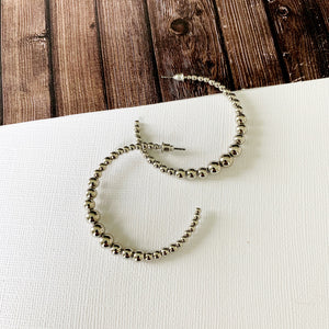 "Hoopla Hoop Earring Collection :: Lucy Silver 1.5"" Ball Beaded Hoops"