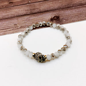 Boutique Bracelet Collection :: Paved Skull Cloudy Grey Beaded Bracelet