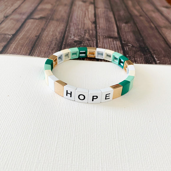 Boutique Bracelet Collection :: Hope Mint Tile Bracelet