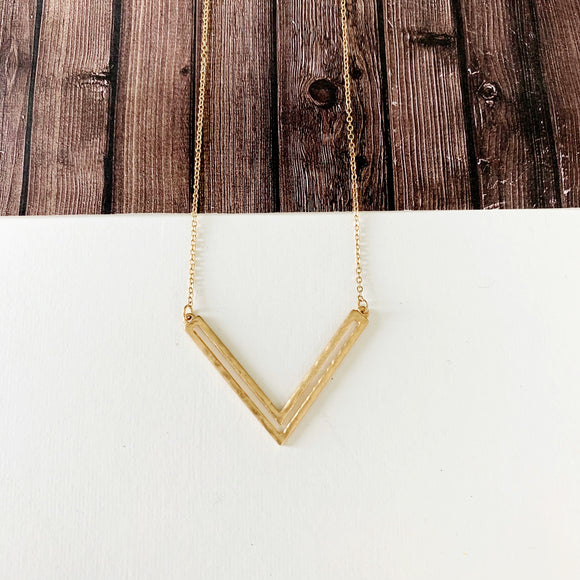 Baubles & Bits Boutique :: Isabella Chevron Necklace - Gold