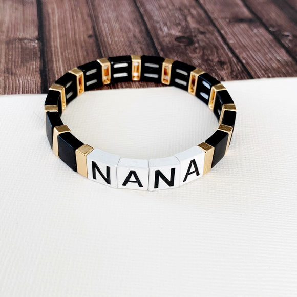 Boutique Bracelet Collection :: Nana Tile Bracelet Black