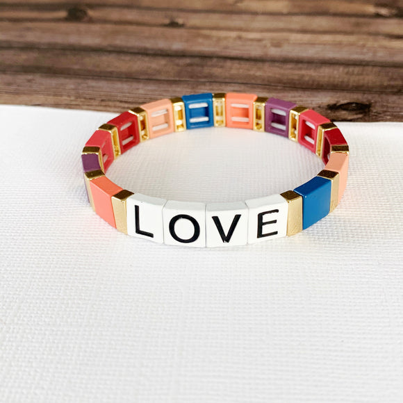 Boutique Bracelet Collection :: Love Tile Bracelet Multi