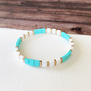 Boutique Bracelet Collection :: Vivian Turquoise Gold Tile Bracelet