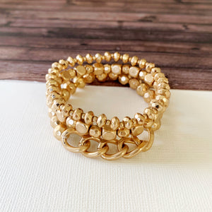 Boutique Bracelet Collection :: Kataleya Gold Stacked Ball Bracelets with Chain Detail