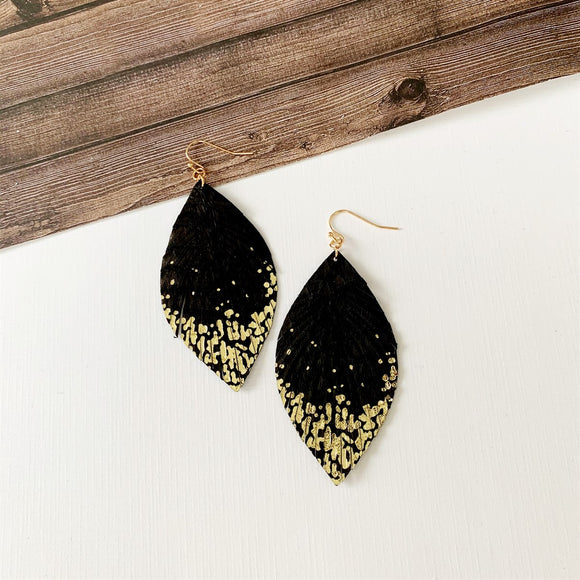 Baubles & Bits Boutique :: Mae Gold Splatter Drops Black