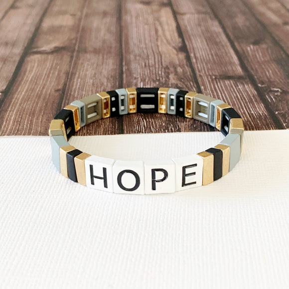 Boutique Bracelet Collection :: Hope Tile Bracelet Neutral