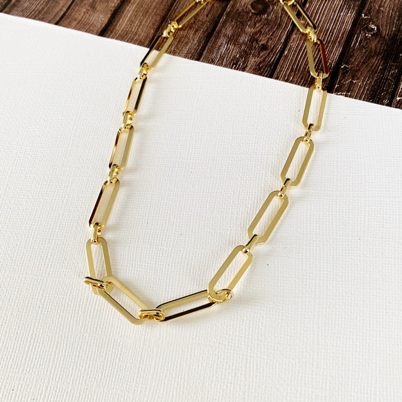 Baubles & Bits Boutique :: Alayah Paperclip Chain Choker - Gold