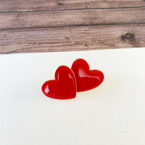 Baubles & Bits Boutique :: Emma Red Enamel Heart Post-backs