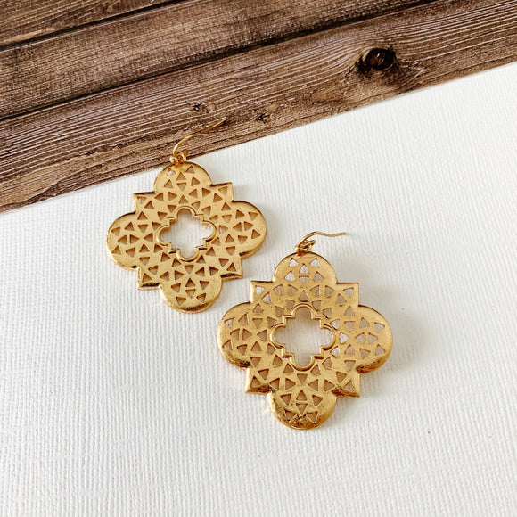 Mixed Metals Earring Collection :: Hannah Gold Filigree Clovers