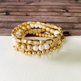 Boutique Bracelet Collection :: Imani Satin Gold Ball and Pearl Bracelets