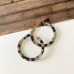 Baubles & Bits Boutique :: Addisyn Paved Snow Leopard Hoops