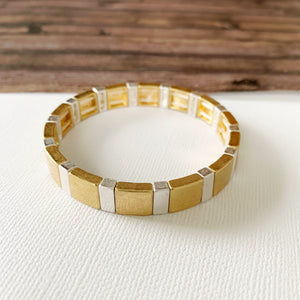 Boutique Bracelet Collection :: Estrella Mixed Metals Tile Bracelet