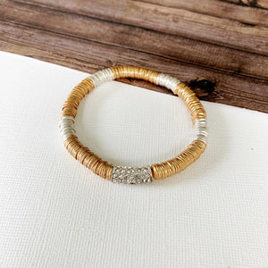 Boutique Bracelet Collection :: Peyton Paved Mixed Metal Disc Bracelet
