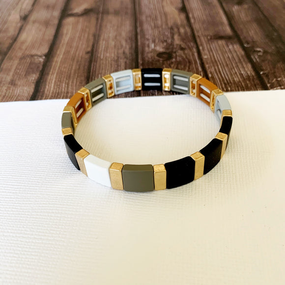 Boutique Bracelet Collection :: Lyra Grey and Black Tile Bracelet