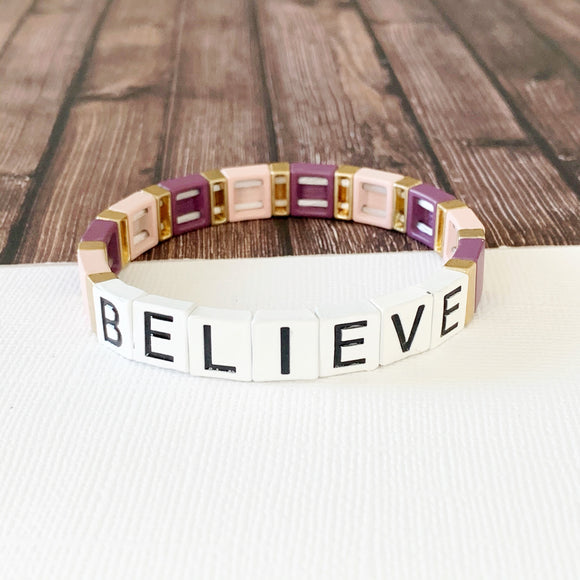 Boutique Bracelet Collection :: Believe Lavender Tile Bracelet Multi