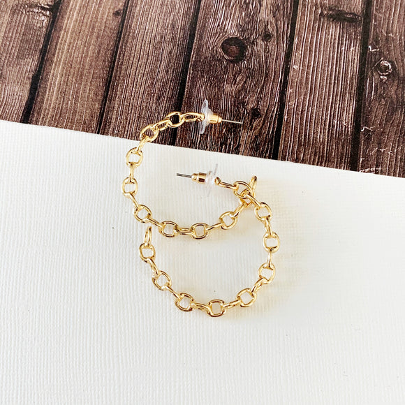 "Hoopla Hoop Earring Collection :: Emmah Gold 1.5"" Chain Linked Hoops"