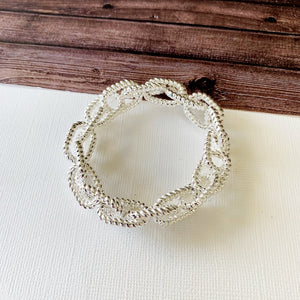 Cable Bracelet Collection :: Emerie Silver Textured Link Stretch Bracelet