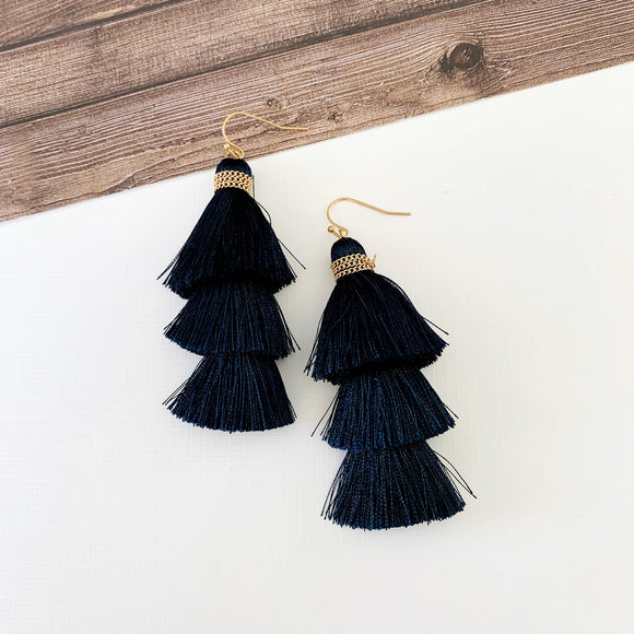 Baubles & Bits Boutique :: Bella Navy Tiered Tassel Drops