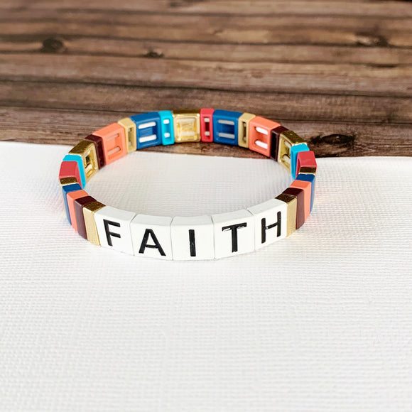 Boutique Bracelet Collection :: Faith Tile Bracelet Multi