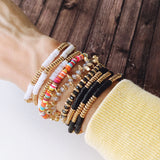 Boutique Bracelet Collection :: Beth Black and Gold Stacking Bracelets