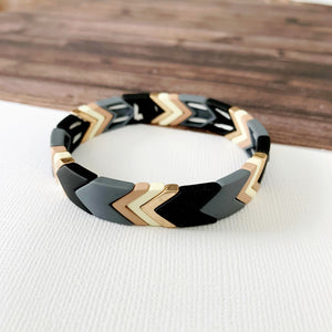 Boutique Bracelet Collection :: Lucy Grey Chevron Tile Bracelet