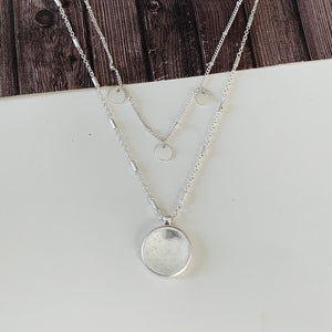 Layered Look Necklace Collection :: Altera Coin Layered Necklace - Silver