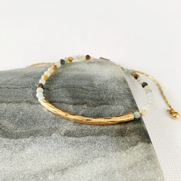 Natural Stone Slider Bracelet Collection :: Amazonite Gold Bar