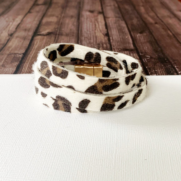 Boutique Bracelet Collection :: Olivia White Leopard Wrap