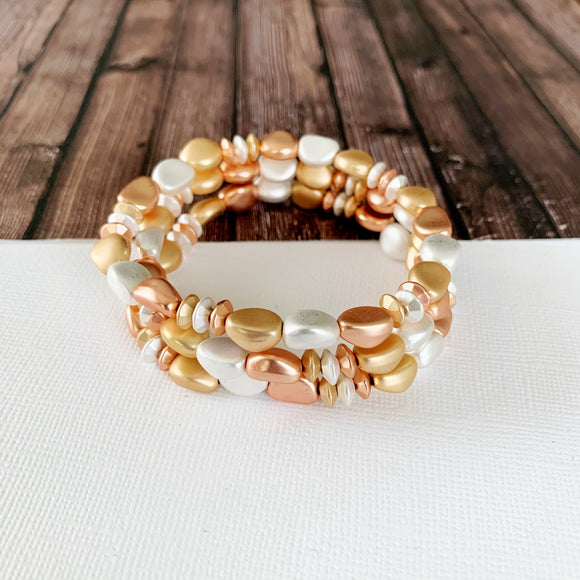 Boutique Bracelet Collection :: Brylee Matte Mixed Metals Stacked Ball Bracelets