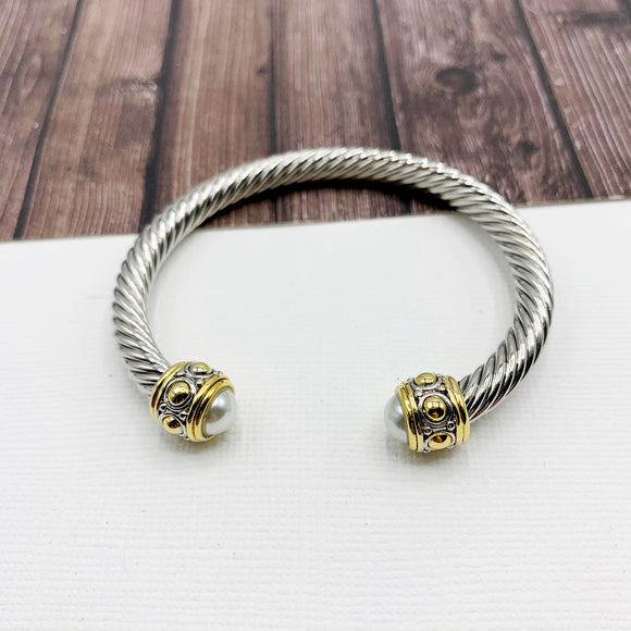 Cable Bracelet Collection :: Kiera Mixed Metal Tips - Pearl