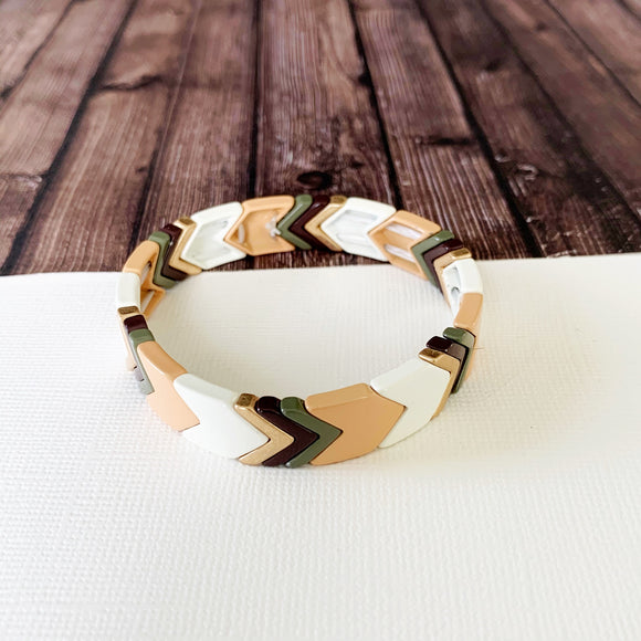 Boutique Bracelet Collection :: Lucy Neutral Chevron Tile Bracelet