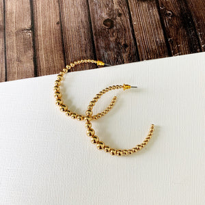 "Hoopla Hoop Earring Collection :: Lucy Gold 1.5"" Ball Beaded Hoops"