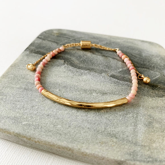 Natural Stone Slider Bracelet Collection :: Rose Quartz Gold Bar