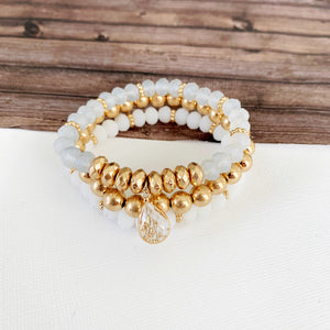 Boutique Bracelet Collection :: Hybiscus Neutral & Gold 3pc Set