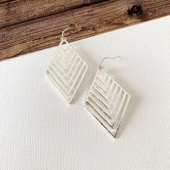 Mixed Metals Earring Collection :: Micah Silver Chevron Drops