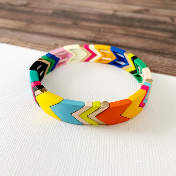 Boutique Bracelet Collection :: Lucy Multi Chevron Tile Bracelet