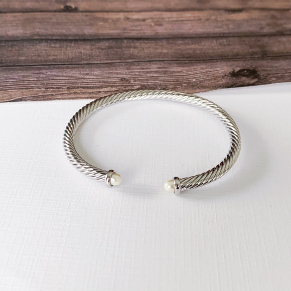 Cable Bracelet Collection :: Jillie Silver White Pearl